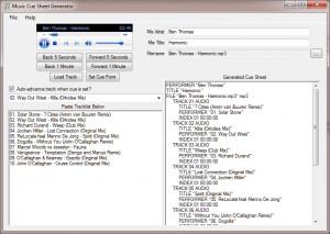 Music Cue Sheet Generator
